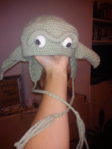 Crocheted Yoda hat