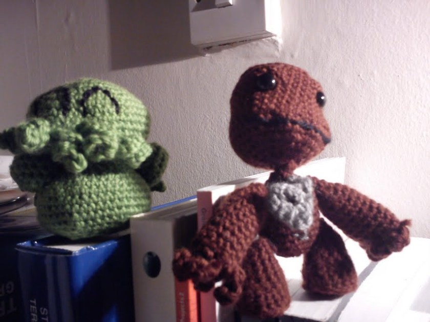 Crocheted Cthulhu and Sackboy toys