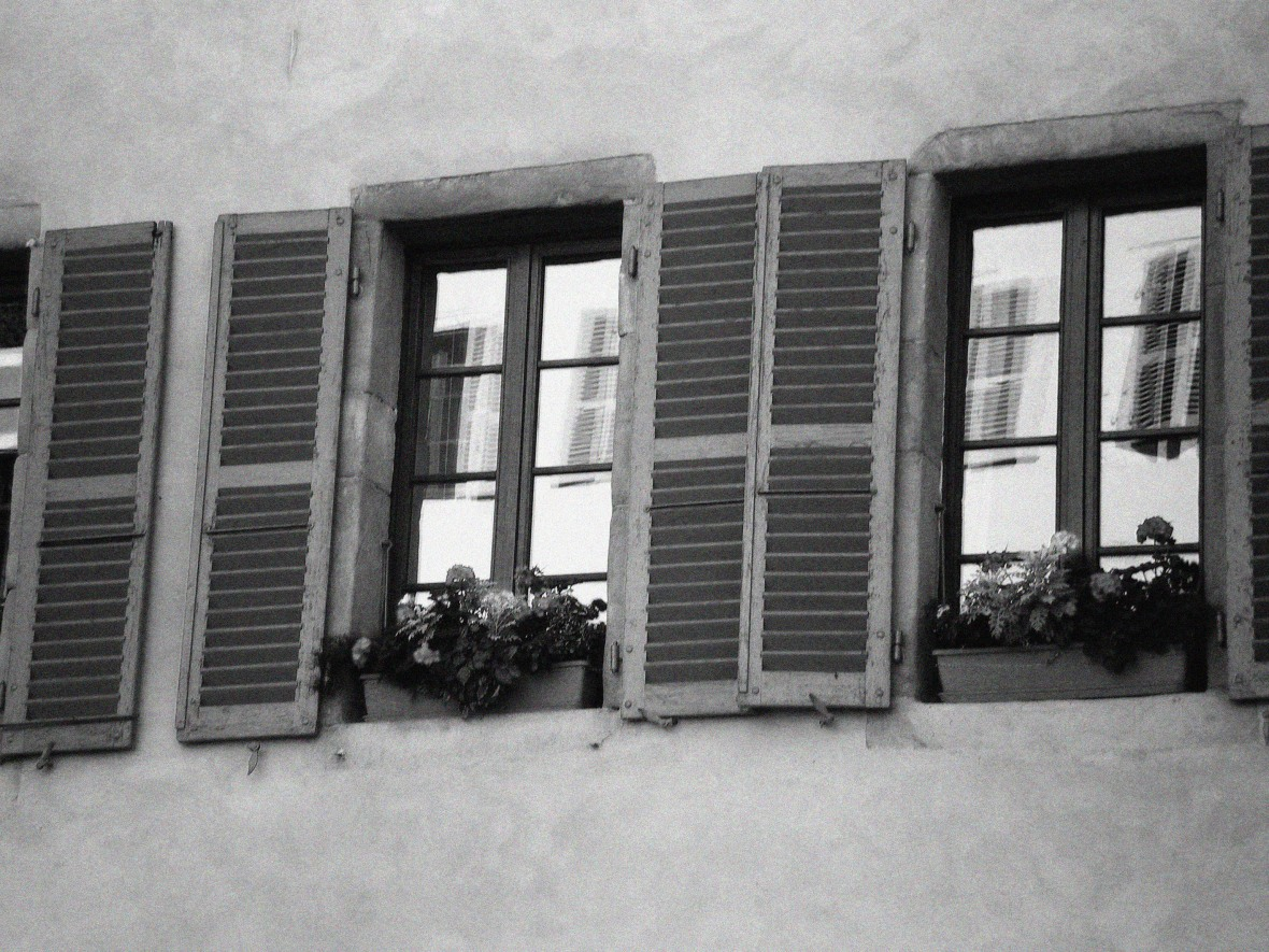 pink windows in BW with grain