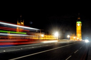 picture of Big Ben and cars at night