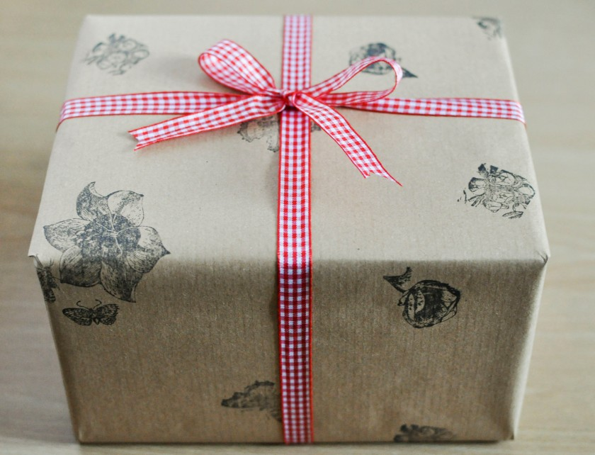 Perfect, stamped present with a bow